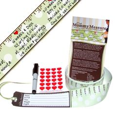 What a cool idea!  A cute measuring tape with a marker and heart stickers to measure belly growth throughout pregnancy.