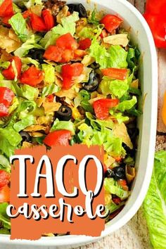 Add a twist to Taco Tuesday and try this delicious Taco Casserole. all the taco fixings in an easy-to-make casserole! It'ssure to become a family favorite. We've already added it to our favorite ground beef dinners! Winter Salad Recipes, Chopped Salad Recipes, Healthy Salad Recipes, Summer Recipes, Mexican Food Recipes, Beef Recipes, Cooking Recipes, Mexican Dishes, Recipies