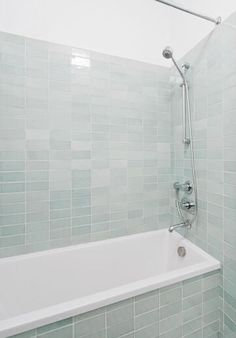pale seaglass subway tile for bathtub walls