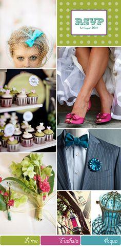 Lime Green, Fuchsia Pink and Aqua Turquoise Wedding Inspiration