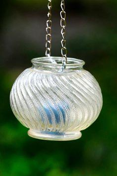 Hanging glass lantern vintage hanging glass candleholder | Etsy