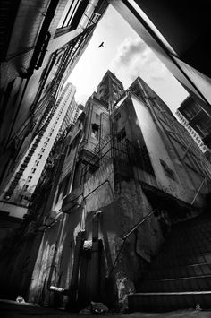 Sky Glimpse, Hong Kong, 2011 by Romain Jacquet-Lagrèze Wide Angle Photography, Urban Photography, Landscape Photography, Grunge Photography, Architectural Photography, Digital Photography, Urban Landscape, Landscape Photos, Black White Photos