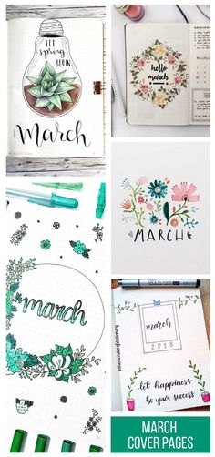 Bullet Journal March Cover Pages You& Want to Steal! Spring is on it& way so it& time to break out the floral colours and start doodling leaves and plants. If you need some inspiration for your Bullet Journal March cover page we& got it right here! Birthday Bullet Journal, Planner Bullet Journal, March Bullet Journal, Bullet Journal Cover Ideas, Bullet Journal Writing, Bullet Journal School, Bullet Journal Layout, Bullet Journal Inspiration, Love Journal
