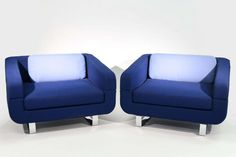 Lot: PAIR OF ESTEL BLUE UPHOLSTERED CLUB CHAIRS, Lot Number: 0257, Starting Bid: $450, Auctioneer: Westport Auction, Auction: MID-CENTURY DESIGN FINE ART ESTATE ANTIQUES, Date: March 26th, 2017 PDT