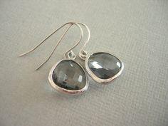 Wedding Jewelry, Grey Earrings, Gray Earrings, Silver Earrings. $28.00, via Etsy. **Bridesmaids**