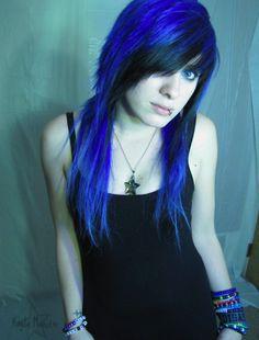 blue/ black fringe emo hair