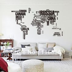Outlined world map decal with continents vinyl wall sticker decals hot selling high quality big size large english words world map removable decals home wall paper gumiabroncs Gallery