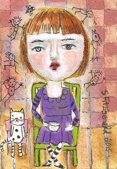 Mixed Media Painting Original Modern Folk Art  ACEO by kittyjujube