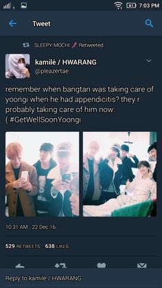 The feeling of appendicitis is TERRIBLE! I can't still believe until now that Yoongi flew from Japan to SoKor to get his surgery although he was already in pain. The pain is seriously intolerable.. I experienced this too :( #GetWellSoonYoongi!