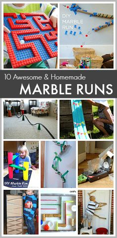 STEM for Kids: 10 Awesome Homemade Marble Runs- Make marble tracks and marble mazes using Lego bricks, pool noodles, cardboard tubes, and more in this fun collection of science activities for children. (Great boredom busters)