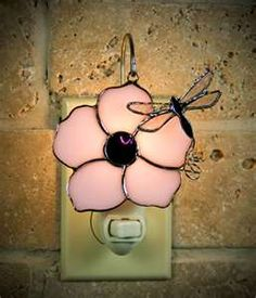 PINK FLOWER and DRAGONFLY...NIGHT LIGHT