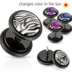 #ZayaBodyJewelry - PAIR Zebra FAKE CHEATER PLUGS 16g gauges CHANGE COLOR IN SUN pink blue purple, $8.99 (http://www.zayabodyjewelry.com/pair-zebra-fake-cheater-plugs-16g-gauges-change-color-in-sun-pink-blue-purple/)