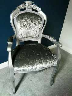 Lovely Silver And Grey Crushed Velvet Chair