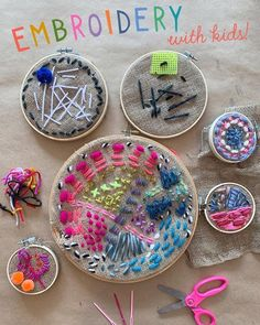 with Kids! Family friendly and fuzzy embroidery with kids using a an embroidery hoop and yarn.Family friendly and fuzzy embroidery with kids using a an embroidery hoop and yarn. Projects For Kids, Sewing Projects, Craft Projects, Craft Ideas, Knitting Projects, Sewing Tips, Project Ideas, Crochet Projects, Diy With Kids