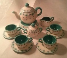 Childrens ceramic tea set in lavender and aqua.  Artist Stacey Dean