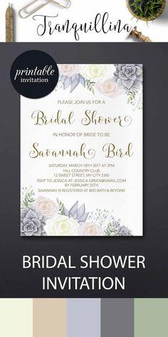 Succulent Bridal Shower Invitation Printable, Watercolor Floral Bridal Shower Invitation, Boho Bridal Shower Invitation, Bohemian Invitation - Pink Grey Wedding trends. tranquillina.etsy.com