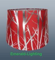 "RED LAMPSHADE TREE BRANCH EFFECT 11"" EMPIRE DRUM CEILING TABLE LAMP SHADE"