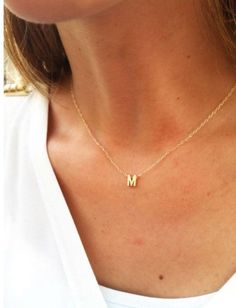 Gold Initial Necklace - Gold Letter Necklace - Tiny Initial Necklace - Delicate Gold Necklace - Simple Gold Jewelry from HLcollection. Saved to jewelry. Dainty Diamond Necklace, Initial Necklace Gold, Initial Jewelry, Letter Necklace, Simple Necklace, Diamond Earrings, Emerald Diamond, Platinum Earrings, Diamond Jewelry
