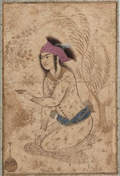 Youth kneeling and holding out a wine-cup -  early 17th century.   Safavid period.  Ink and color wash on paper.  Isfahan, Iran.