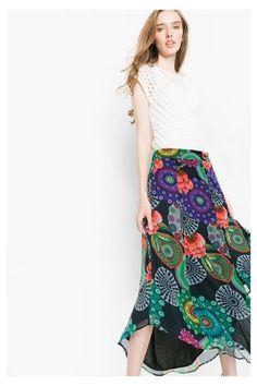 Maxi falda de gasa  Desigual. ¡Descubre la colección primavera-verano 2016!