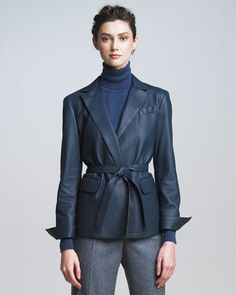 Cervo Leather Jacket, Blue by Loro Piana at Neiman Marcus.