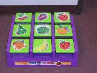 Hands On Bible Teacher: Fruit of the Spirit Lesson 2 - Use an old toss across bean bag game.  When they flip over there is a question on the other side for them to answer.