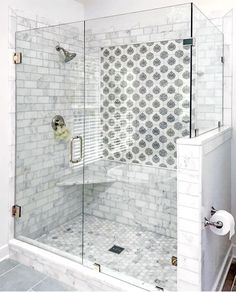 Beautiful bathroom renovation by the talented Katie Howlett of KMH Creative (Richmond, VA) using our Caprice Pattern. Inspiring shower tiling. #showertiling