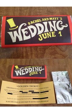 Adorable chocolate bar wedding invitations in the style of Charlie and the chocolate factory