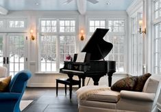 I want a piano room someday. Also, piano lessons. The Piano, Grand Piano Room, Piano Room Decor, Steinway Grand Piano, Piano Living Rooms, Living Area, Dining Room, Traditional Family Rooms, Sunroom Decorating
