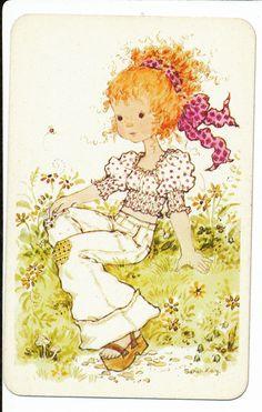 1 70's 'Sarah Kay' Girl in Garden Swap Playing Card Blank Back | eBay