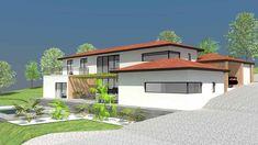 Maison de plain pied avec toit en 4 pentes maison pente pinterest - Maison sur terrain en pente ...