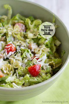 Pesto Pasta and Ham Salad on Taste and Tell @Deborah Harroun {Taste and Tell}