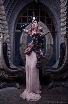 from my photoshooting at HR Giger Museum in Gruyeres / Switzerland Giger inspired outfit by Bibian Blue /Spain Model: