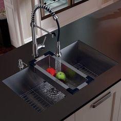 Kitchen Sink Remodel Vigo 32 inch Undermount Single Bowl 16 Gauge Stainless Steel Kitchen Sink with Edison Chrome Faucet, Grid, Strainer, Colander and Soap Dispenser -