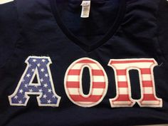 Alpha Omicron Pi American Letters!  Get your vneck for only $10.50 from LaHerds!