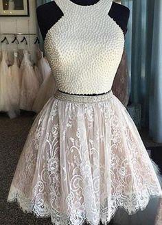 White lace A-line halter cute beading short prom dress,bridesmaid dress