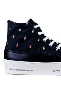 http://SneakersCartel.com UNDERCOVER Middle Finger Pattern Canvas Sneakers (via HBX) #sneakers #shoes #kicks #jordan #lebron #nba #nike #adidas #reebok #airjordan #sneakerhead #fashion #sneakerscartel