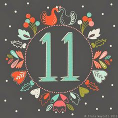 Christmas Advent day 11 by Flora Waycott Christmas Fonts, Christmas Graphics, Christmas Images, Christmas Countdown, Christmas Printables, Christmas Art, Vintage Christmas, Christmas Calendar, Illustration Noel