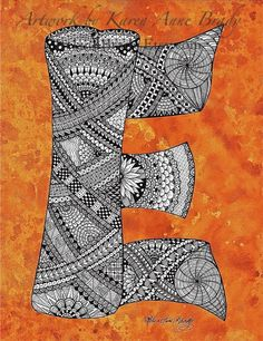 ACEO Alphabet Letter E zentangle doodle initial monogram art print by Karen Anne Brady. $1.00, via Etsy.