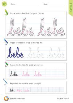 Les gestes pour écrire le mot bébé en minuscules cursives. Dans l'écriture du mot bébé en cursives, la forme la plus sollicité est la boucle. L'intérêt de cette répétition au cours de cet exercice d'écriture est la variation de la taille des boucles selon qu'on passe du b au e et pour finir l'intervention des accents aigus.