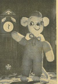 Giant Mouse - vintage toy knitting pattern