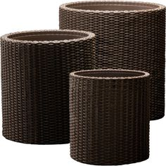 Arrange this set of wicker-inspired planters on the deck or patio to grow aromatic herbs or lovely flowers.  Product: Small, med...
