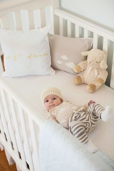style me pretty traditional nursery tour: baby liam's nursery designed by sarah salem. featuring our bouclé cloud and moon & star bedding.