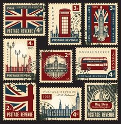 set of stamps with the flag of the UK and London sights Stock Vector