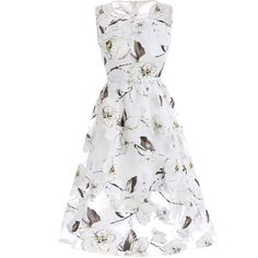 Belted Floral Print Organza Dress (63 ILS) ❤ liked on Polyvore featuring dresses, botanical dress, floral dresses, floral printed dress, white organza dress and flower printed dress