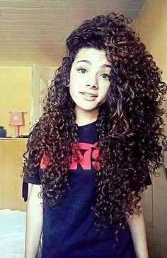 Long curly hair