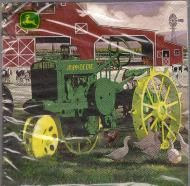 Price $4.50 - John Deer tractor with red barn in background, cows and ducks.