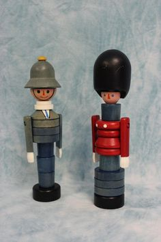 "Two Hand crafted wood ""Build up Toy"" Beefeater, Policeman made in Czechoslovakia in Toys & Games, Pre-School & Young Children, Wooden Toys 