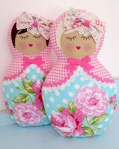 Image of Rosey Babushka doll - Aqua