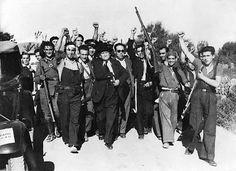 Largo Caballero et des miliciens républicains